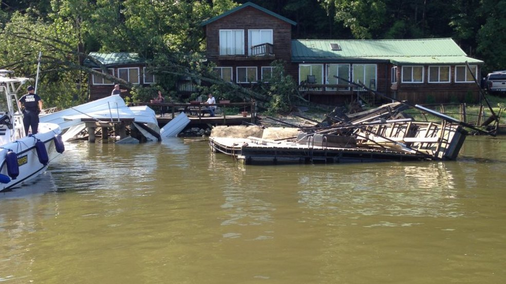 Troopers report boat dock damage at lake of the ozarks krcg for Lake link fishing report