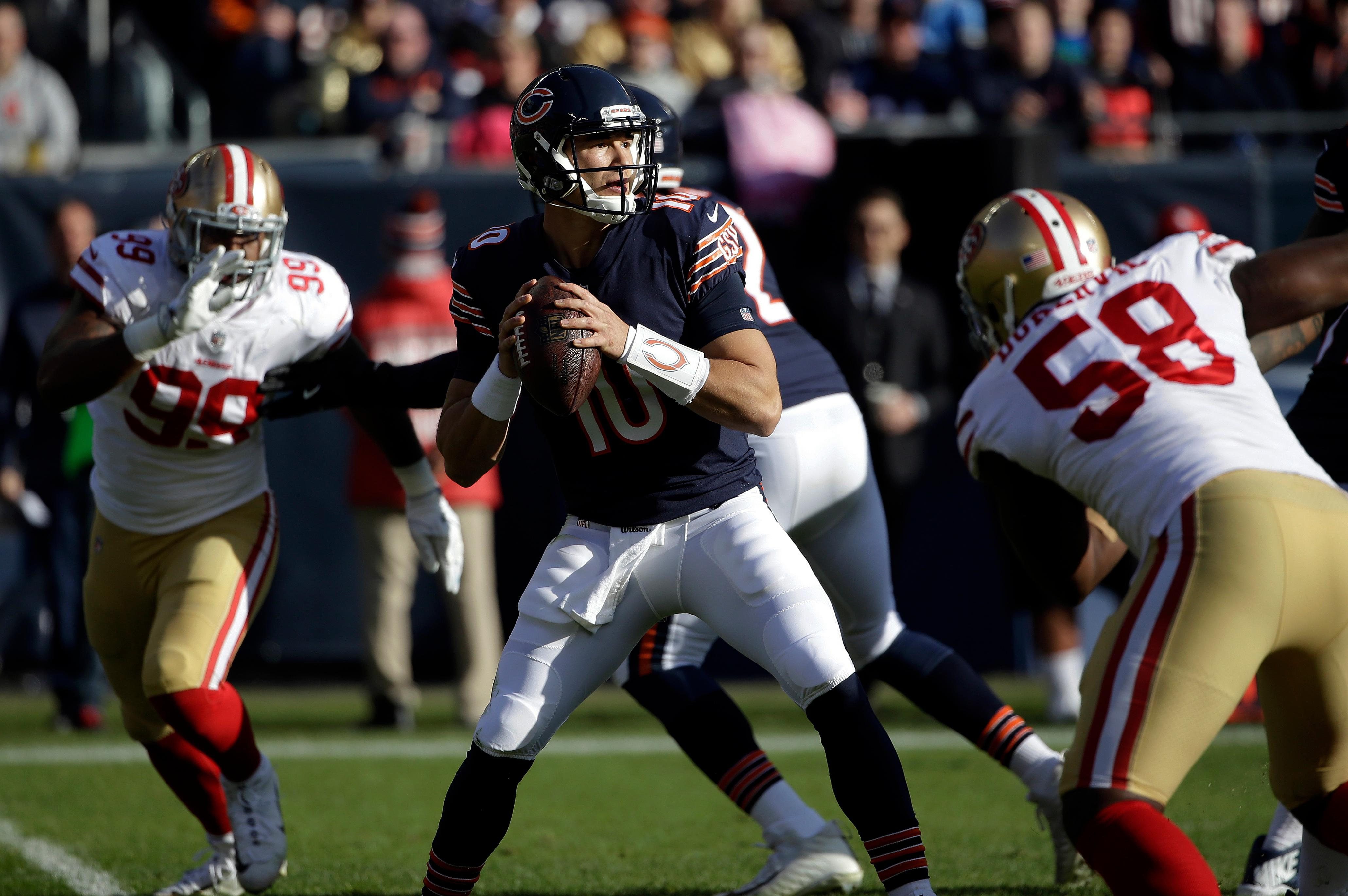 Chicago Bears quarterback Mitchell Trubisky (10) looks for a receiver during the first half of an NFL football game against the San Francisco 49ers, Sunday, Dec. 3, 2017, in Chicago. (AP Photo/Nam Y. Huh)
