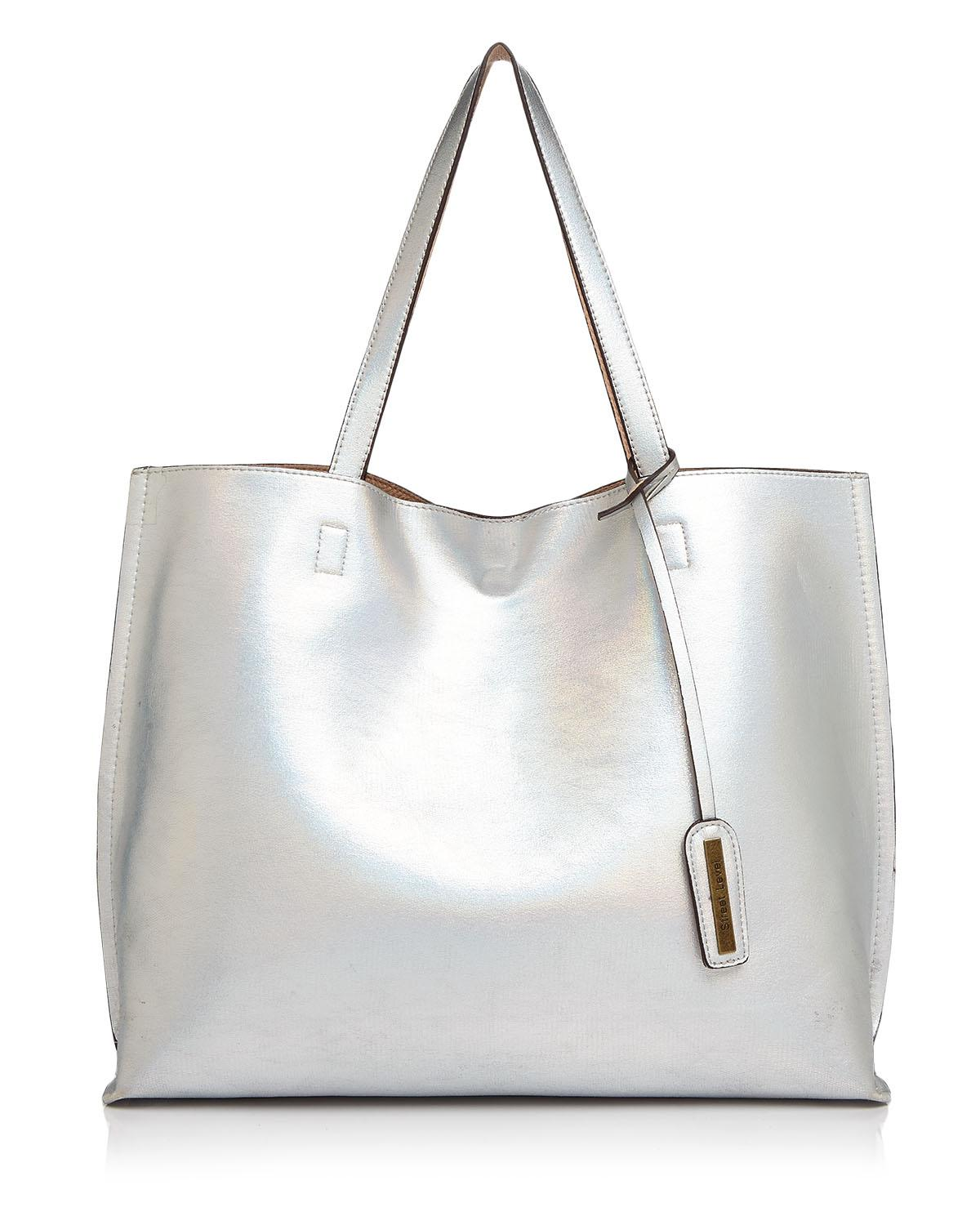 Street Level Nova Hologram Reversible Tote at Bloomingdale's{&amp;nbsp;} // Price: $60.00 // (Image: Bloomindale's // bloomingdales.com){&amp;nbsp;}<p></p>