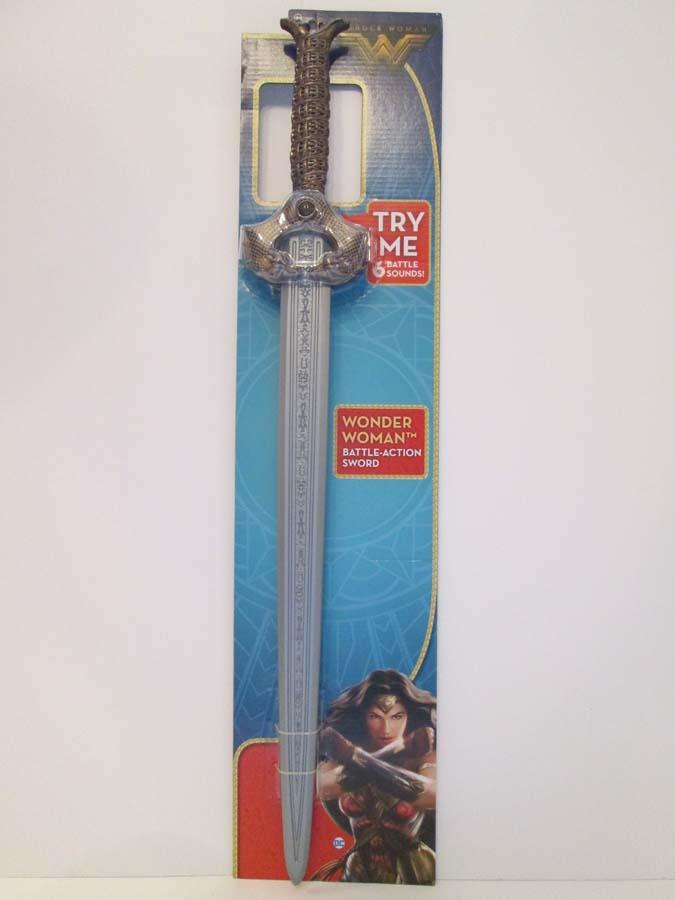 "W.A.T.C.H. OUT! Young children are encouraged to bear arms, like a popular comic book and movie character, to engage in ""[f]ighting alongside men in a war to end all wars. …"" The rigid plastic sword blade has the potential to cause facial or other impact injuries. (Photo and caption provided by WATCH)"
