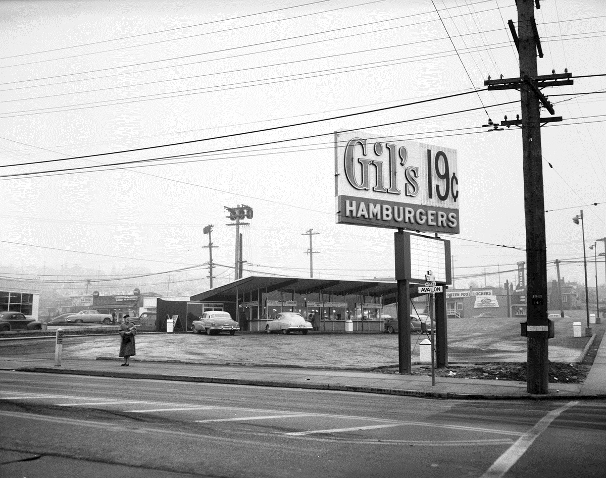 Gil's Restaurant circa 1955. Gil's was located at 35th Ave SW and SW Avalon. Today, a KFC lives in the spot where Gil's once was. (Seattle Municipal Archives / flickr)