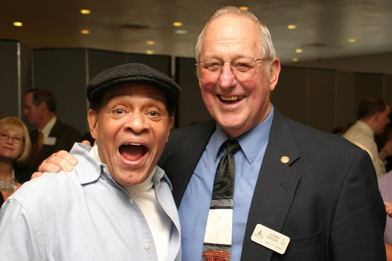 Al Jarreau poses with his college basketball coach, Doc Weiske, at Ripon College, Oct. 6, 2006. (Photo courtesy Ripon College)