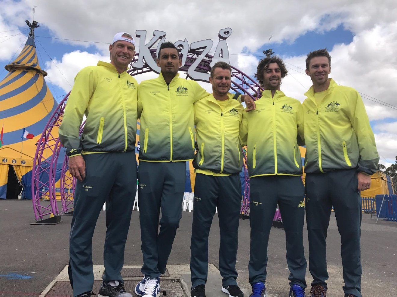 With the Aussie Davis Cup team!