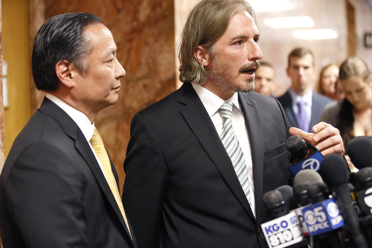 San Francisco Public Defenders Jeff Adachi, left, and Matt Gonzalez, right, talks to members of the media after Francisco Sanchez' arraignment Tuesday, July 7, 2015, in San Francisco.{&amp;nbsp;} (AP Photo/Tony Avelar)<p></p>