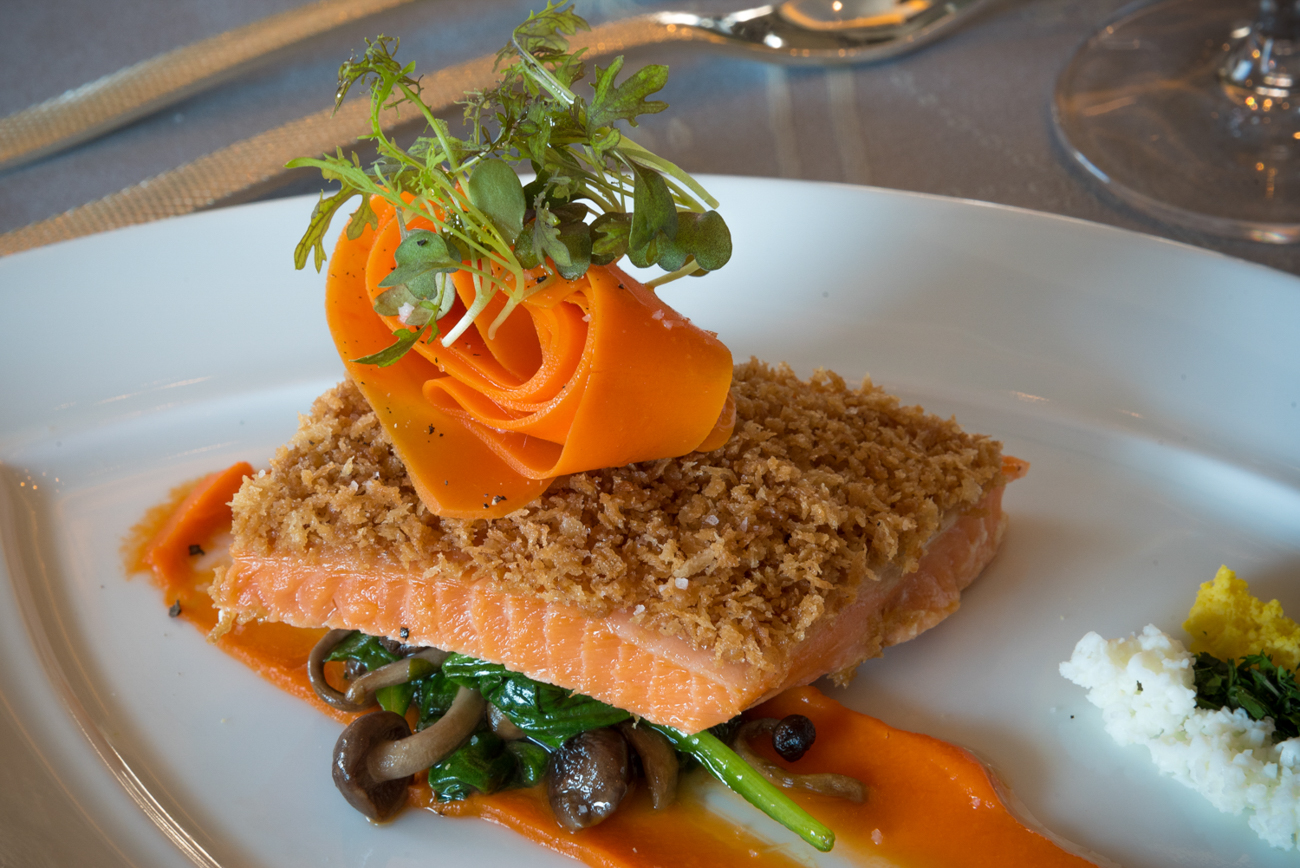 "Arctic Char ""Viennoise"": fondue of spinach, carrot vichy, beech mushrooms, beurre blanc, and jasmine rice / Image: Phil Armstrong, Cincinnati Refined"
