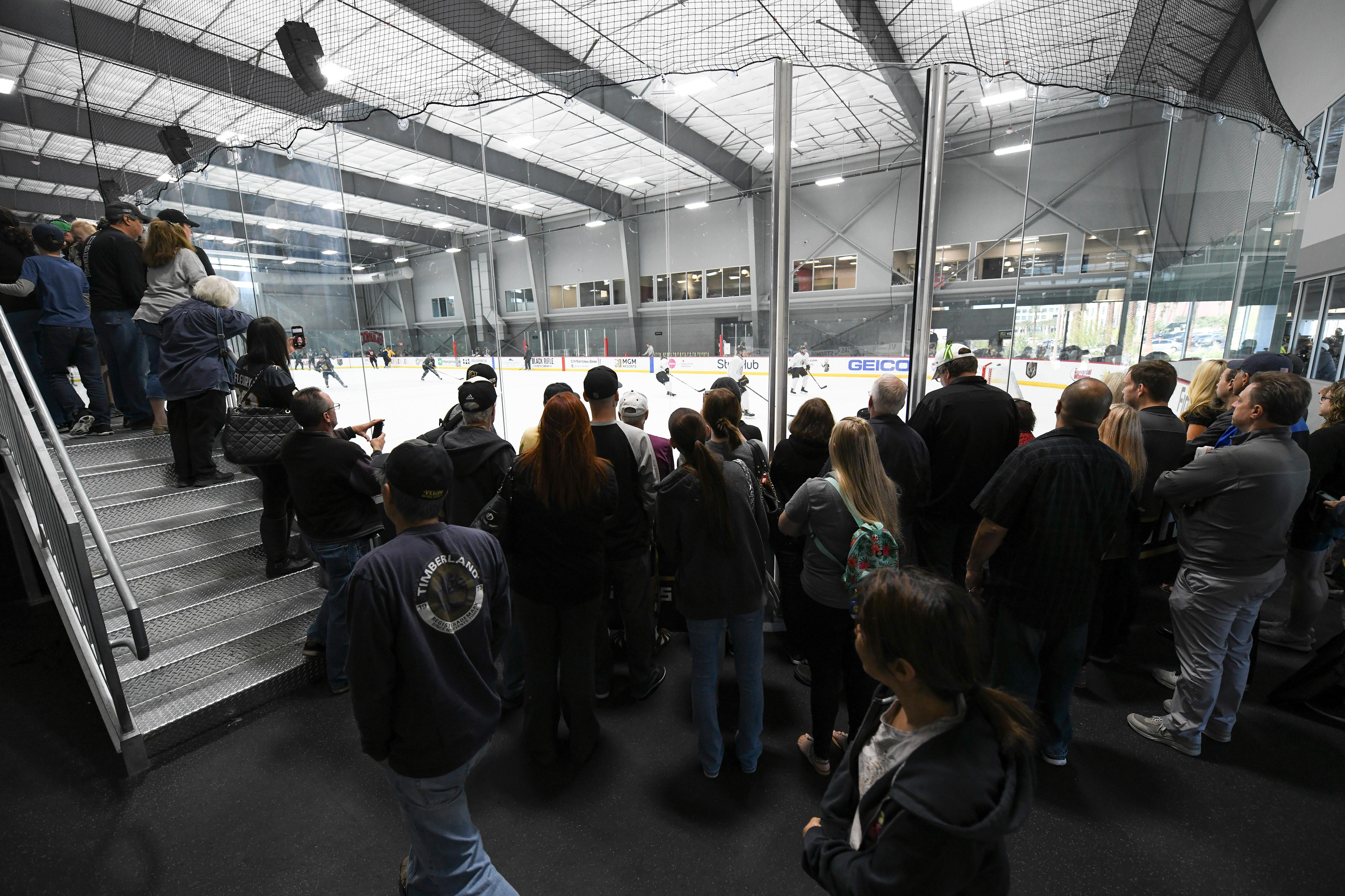 Fans crowd a corner to watch the action during the Vegas Golden Knights practice Friday, April 20, 2018, at City National Arena in Las Vegas. CREDIT: Sam Morris/Las Vegas News Bureau