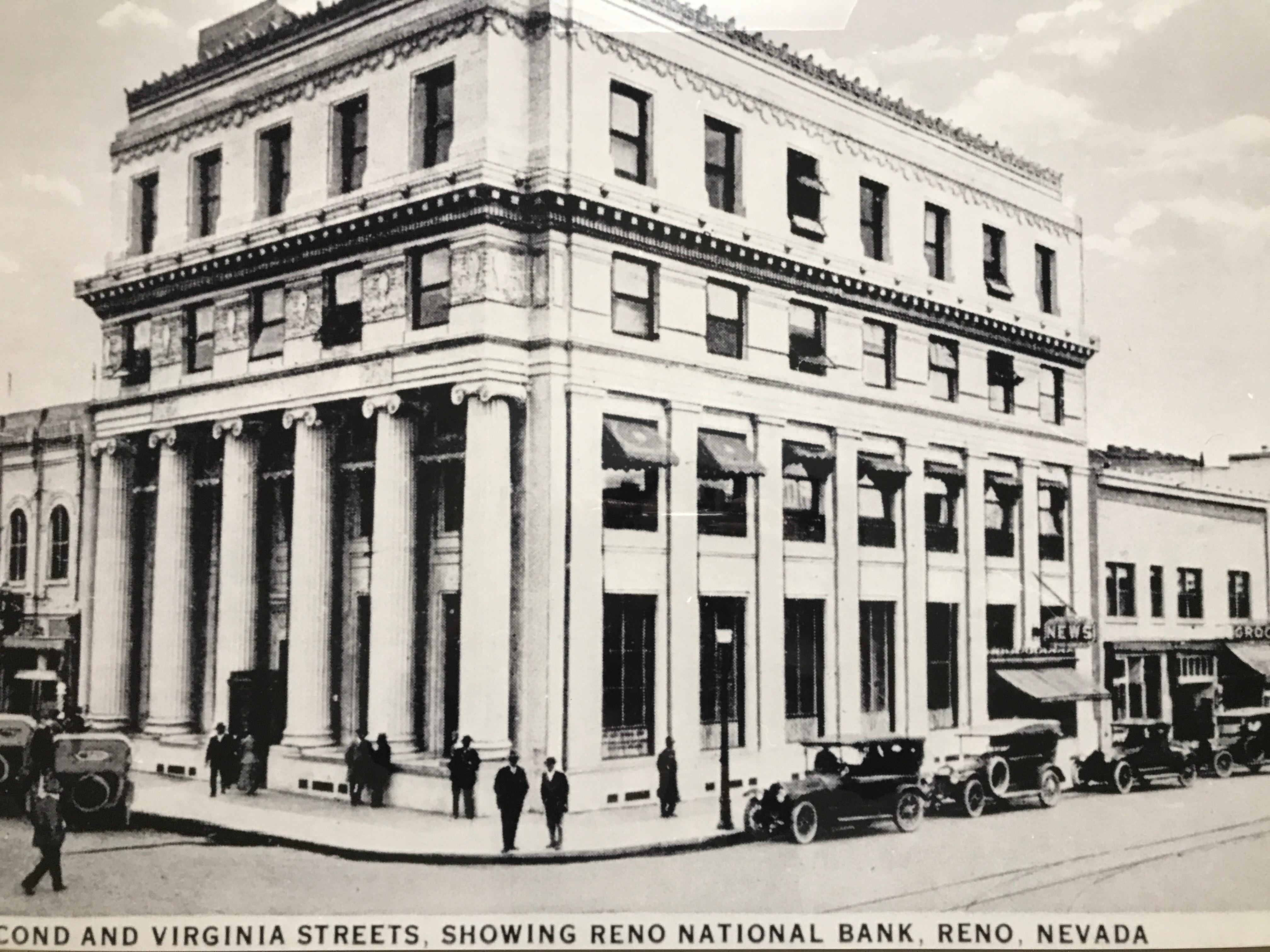 The 1915 Reno national bank building was designed for George Wingfield by Reno's pre-eminent architect, Frederic DeLongchamps, to house one of Wingfield's banks, the Reno National Bank. Designed early in DeLongchamps' career, the building is an impressive and exceptional Classical Revival style Terra Cotta structure with extensive, low relief sculptural ornamentation and Ionic columns and other Classical elements. Today, the Reno national Bank still stands as present day Ichiban Restaurant by Harrah's. (Photo courtesy: Nevada Historical Society)