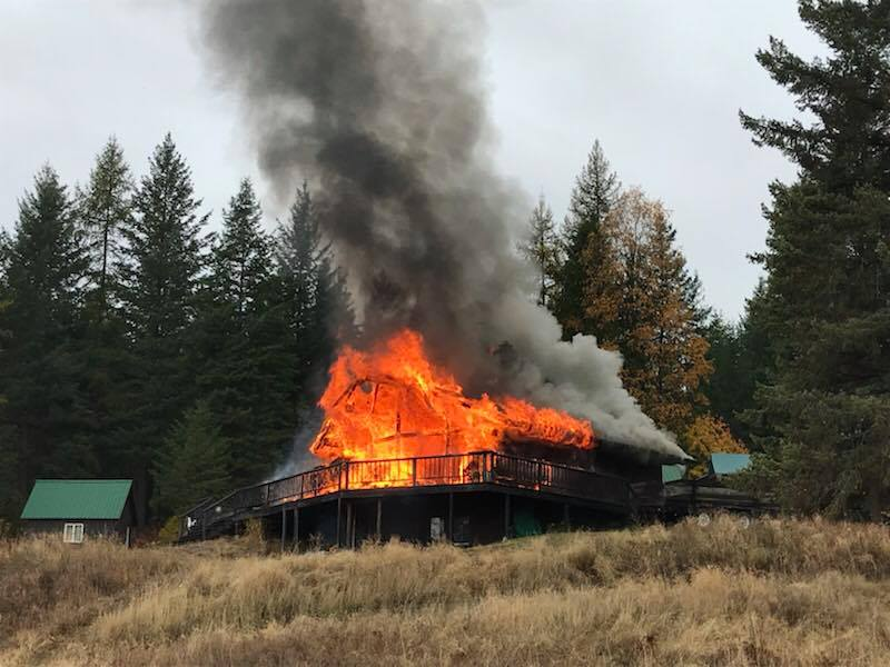 Selkirk Fire Chief Ron Stocking tells the Bonner County Daily Bee{&amp;nbsp;}that the female tenant was alone at the time when she started the fire on Thursday in the home near Sagle and received a minor injury. (Courtesy Selkirk Fire)<p></p>