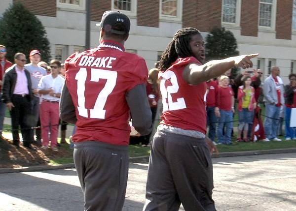 Alabama running back Eddie Lacy points to the fans during the BCS National Championship parade on Saturday, January 19, 2013.