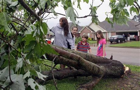 Seventeen year-old Deanna Locke and her siblings including, from left, Charlotte, 13; Drew, 9; and Trinity, 11; examine a downed tree across the street from their home in Tupelo, Miss., after a suspected tornado moved through town earlier on Monday.
