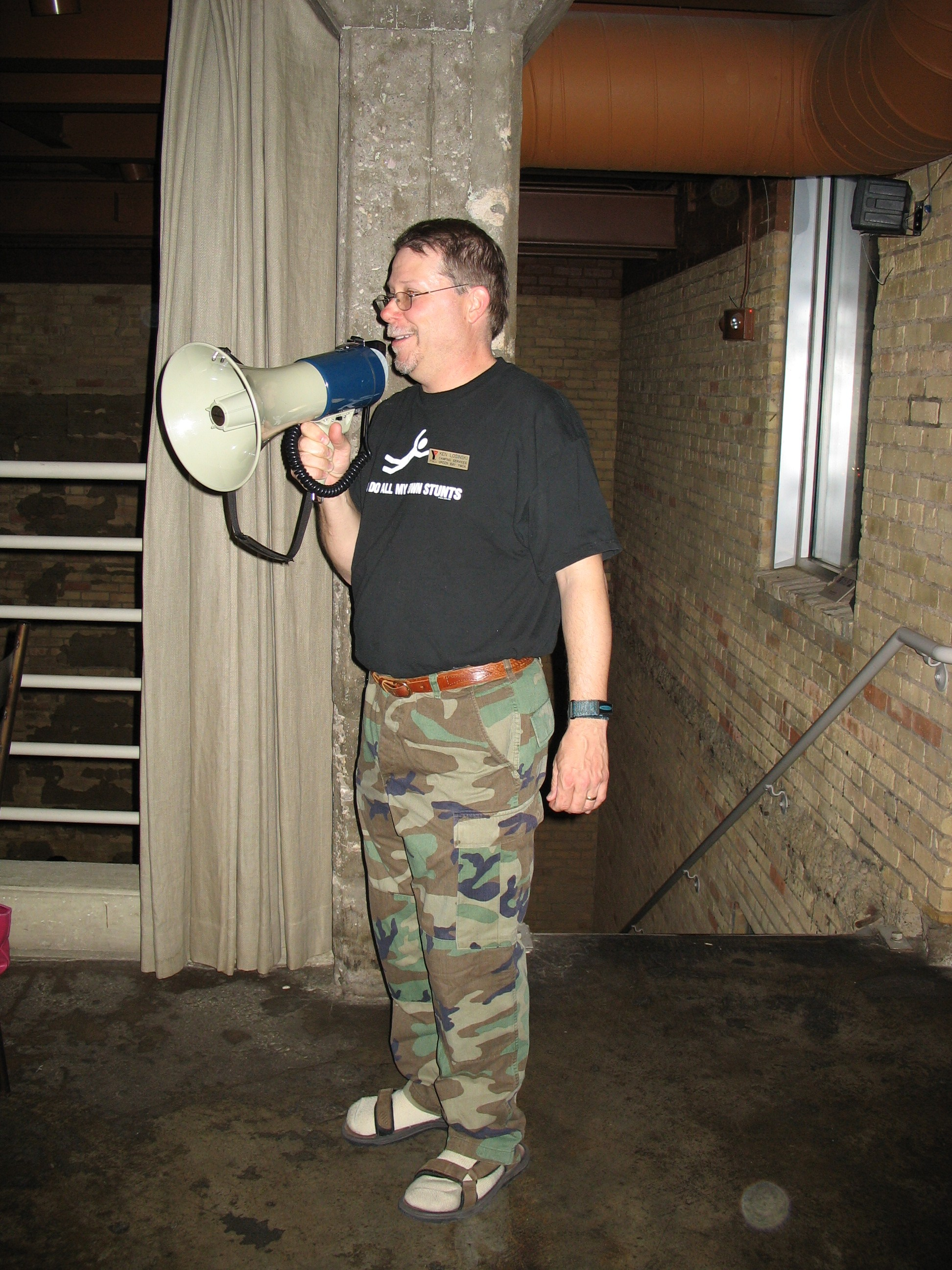 Camp{ }U-Nah-Li-Ya Director Ken Losinski using a megaphone to get his message across (Courtesy Ken Losinski)