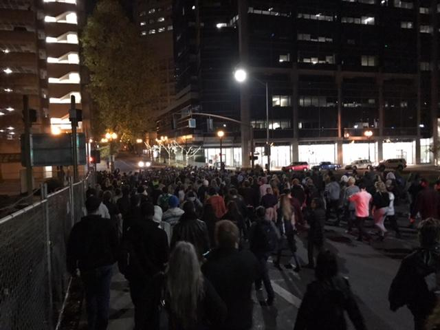 Protesters take to Portland streets after Trump elected president (Photo by KATU's Tristan Fortsch)