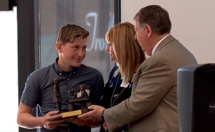 PCAU honored four individuals with the 2019 Anne Freimuth Child Advocate of the Year award on Wednesday, including{ }Gunnison Valley High School student, Greg Liefting. (Photo: KUTV)
