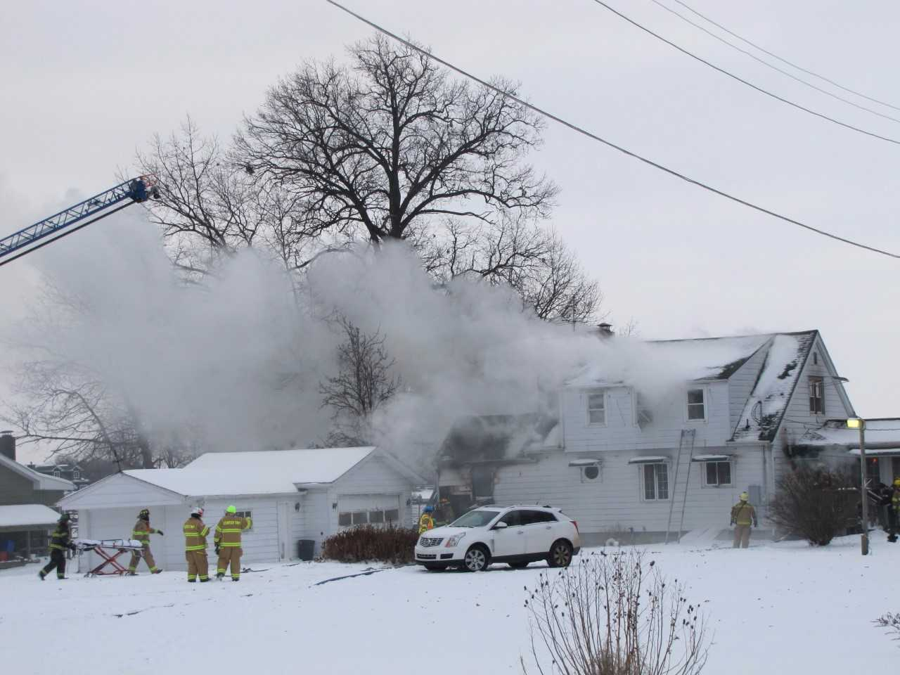 Deadly house fire in the 100 block of Maple Drive near LaPorte // Photo provided by Stan Maddux