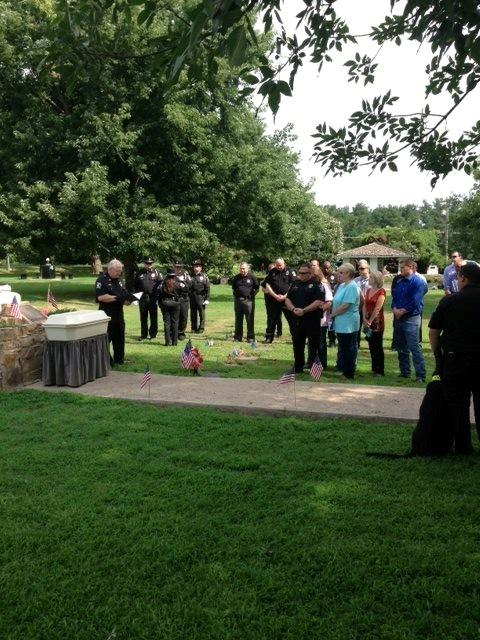 A large crowd gathered to hear a few final words in tribute to the former officer.