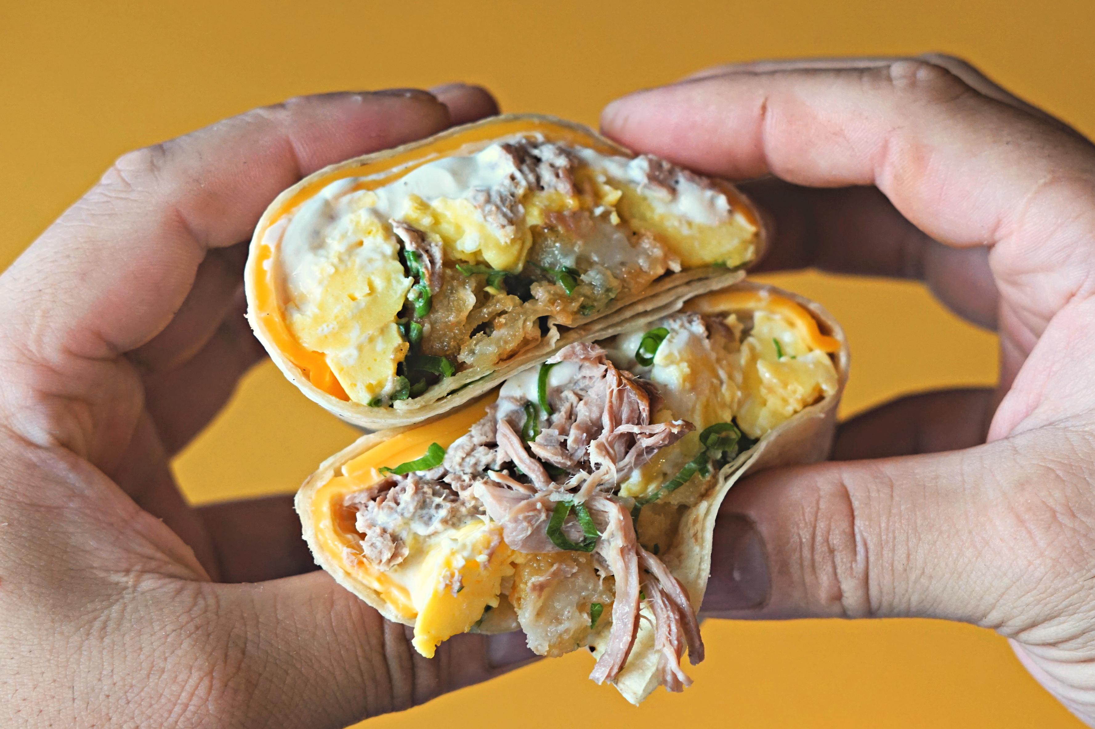 A kalua pork breakfast burrito at Alexandria's Evening Star Cafe. (Image: Courtesy Evening Star Cafe)