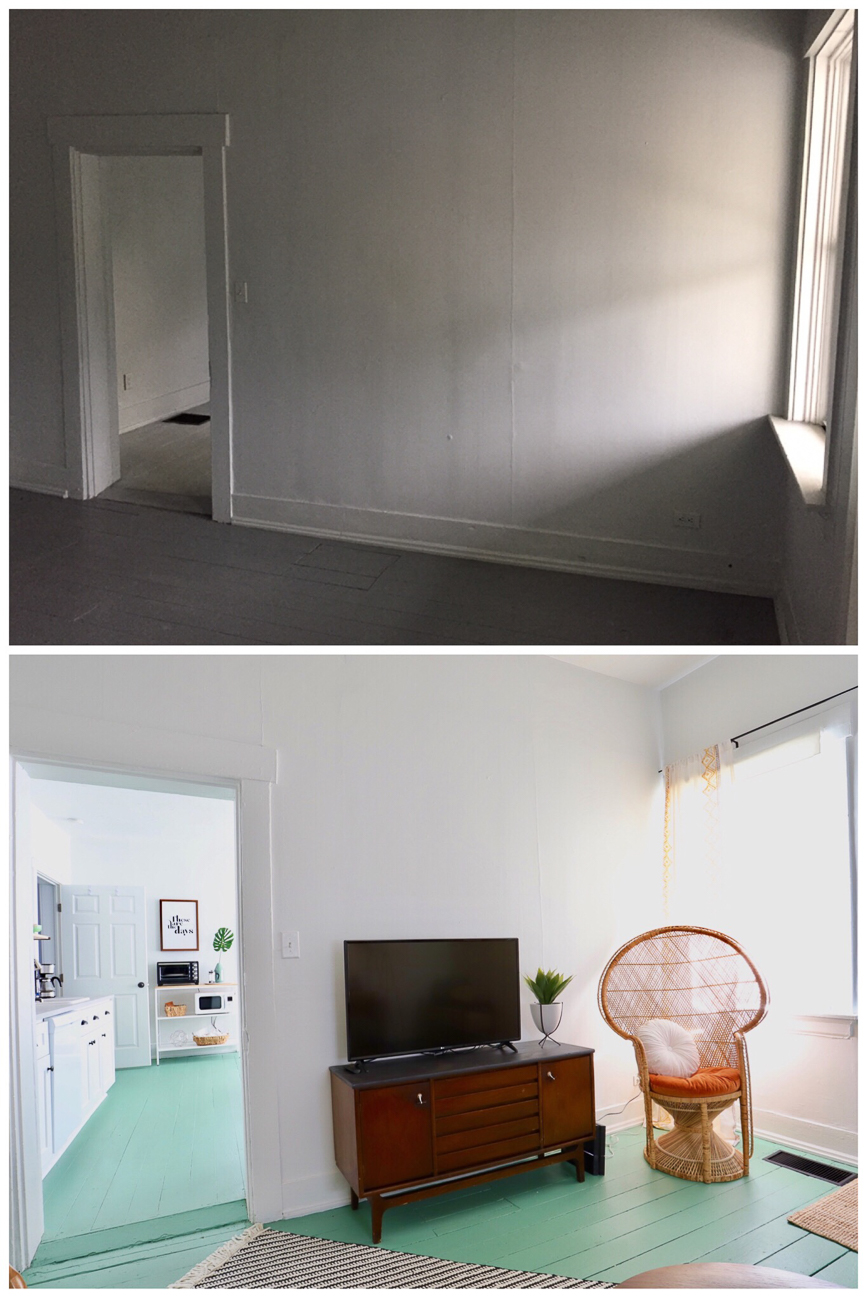 Before/after of the living room / Image courtesy of Nicole Nichols // Published: 1.8.19