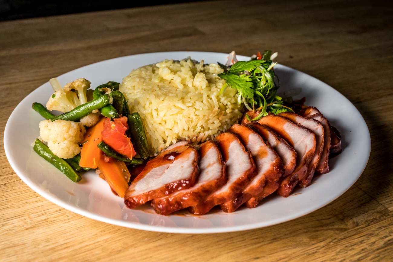 BBQ pork dinner with garlic butter rice and roasted and pickled veggies / Image: Catherine Viox // Published: 1.15.20
