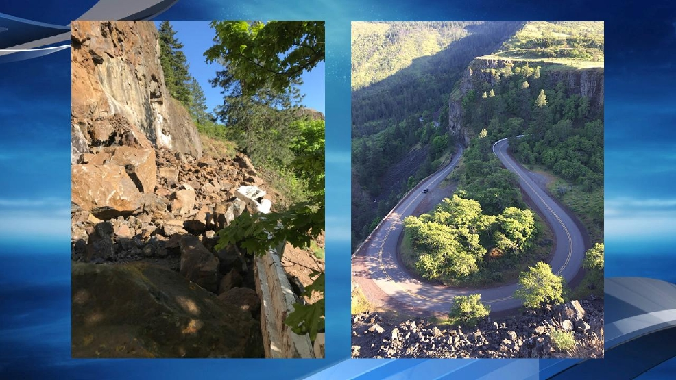 Photo of the slide on Highway 30, which happened near the iconic Rowena Crest curves - ODOT and KATU photos