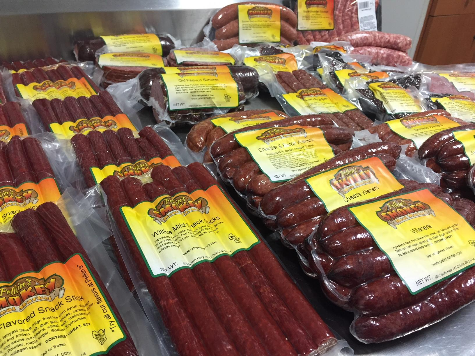 Numerous products offered from Pelkin's Smokey Meats in Crivitz, November 18, 2017, (WLUK/Lauren Kalil)<p></p>