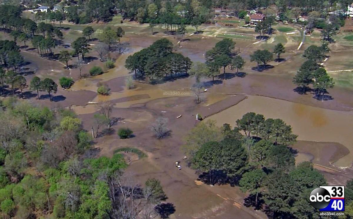An aerial photo of the flooding aftermath at the Altadena Valley Country Club golf course in Birmingham, Ala., Tuesday, April 8, 2014.