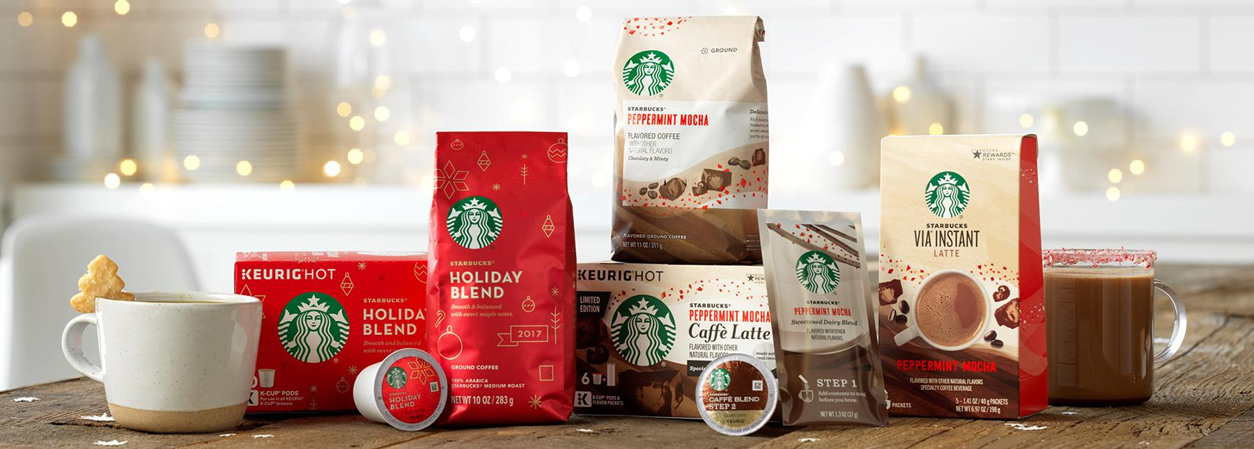 You know it is the holidays when the Holiday Blend shows up in Starbucks. The Starbucks® Holiday Blend's elegant flavor with layers of herbal notes and maple is balanced for medium acidity. Share your love of the holiday season with your favorite coffee drinker by giving them a pound of Holiday Blend. (Image: Starbucks)