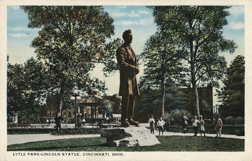 FACT #14: It was an afternoon affair / DETAILS: George Grey Barnard's Lincoln statue was unveiled to the public at 2:30 PM on March 31, 1917. The dedication ceremony was led by William Howard Taft, Charles Taft's half-brother and 27th President of the United States. / SOURCE: Dedication services of Barnard's Lincoln Statue event brochure (March, 1917) / Image courtesy of the Public Library of Cincinnati and Hamilton County from the Paul F. Bien Postcard Collection // Published: 4.2.20