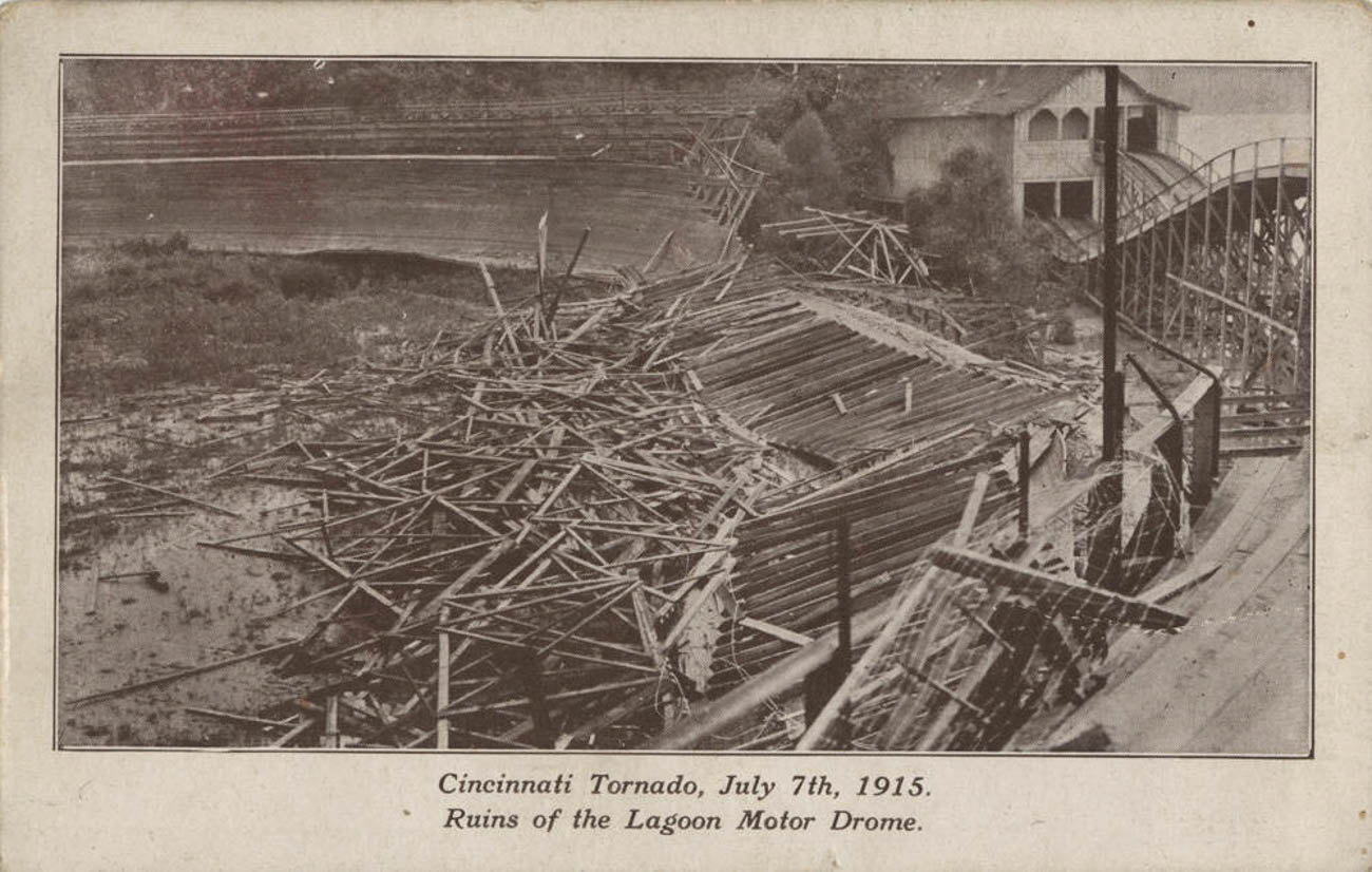 A series of unfortunate events led to Ludlow Lagoon's ultimate demise: First, a flood in 1913 caused significant damage to the park. That same year, the worst accident in Motordrome history sparked a fire that incited panic and resulted in the deaths of at least 10 people. A catastrophic tornado followed in 1915. / Image courtesy of the Paul F. Bien postcard collection via the Public Library of Cincinnati and Hamilton County // Published: 6.5.19