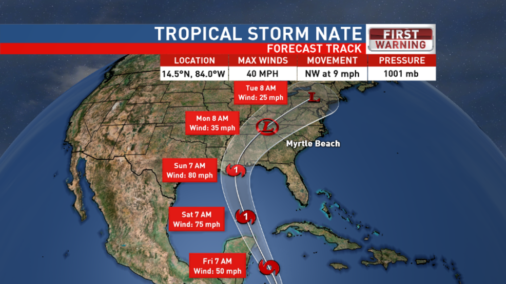 3pm 10-5-17 Tropical Storm Nate's Track Shifts West