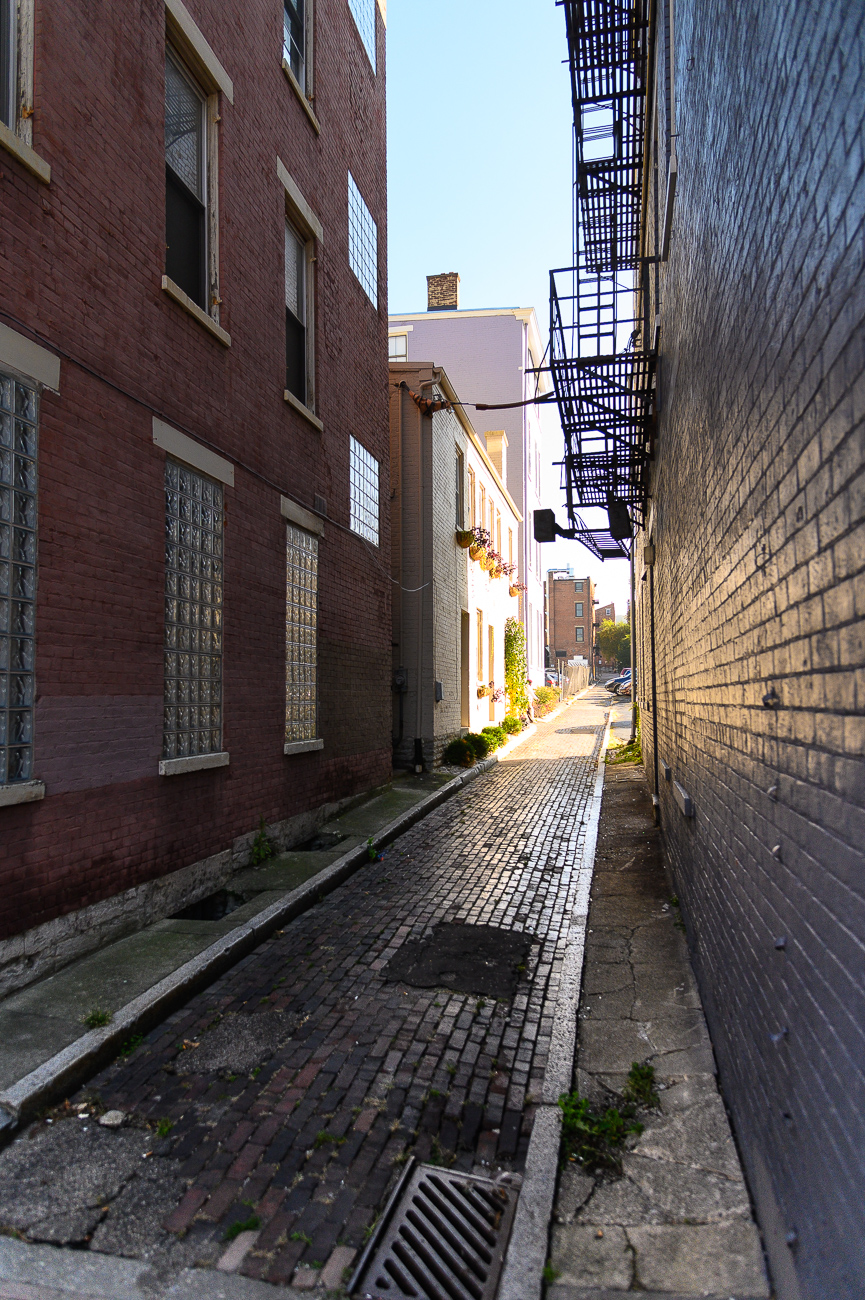 It's hidden off of Sycamore Street at the intersection of Grear and Von Seggern Alleys. It's plainly visible from the nearby parking lots, but isn't immediately noticeable from the main thoroughfares of Pendleton and Over-the-Rhine. / Image: Phil Armstrong // Published: 10.30.19