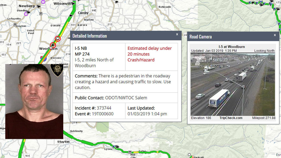 Pedestrian on I 5 taken into custody after 'creating a hazard and