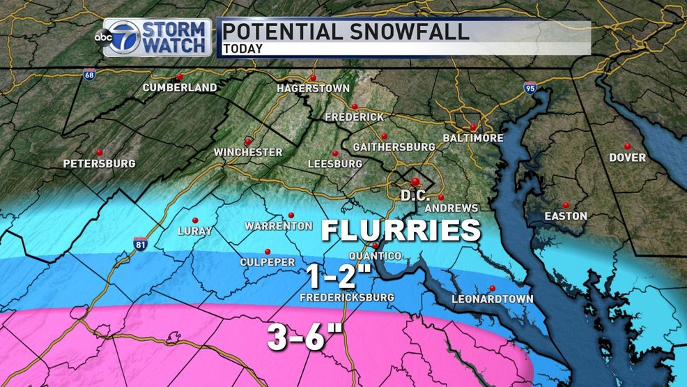 Winter Weather Advisories Posted Just South Of D C Light Snow Sunday Afternoon