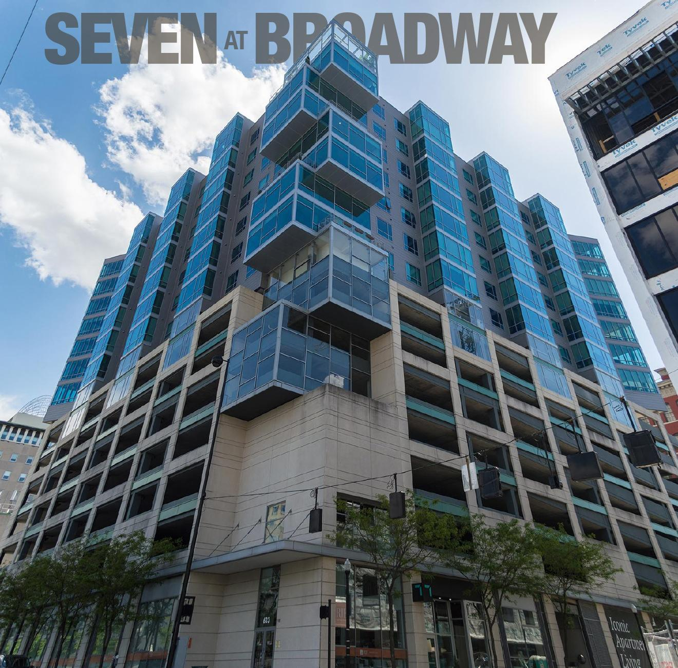 Seven at Broadway / DESCRIPTION: Built on top of an 8-story parking garage, it has over 100 luxury apartments with sweeping views of the city. A private rooftop is reserved for its residents. / APARTMENTS START AT: $1340 per month / ADDRESS: 345 E. 7th Street / PHONE: (844) 798-2287 / IMAGE: Phil Armstrong, Cincinnati Refined // Published: 1.17.18