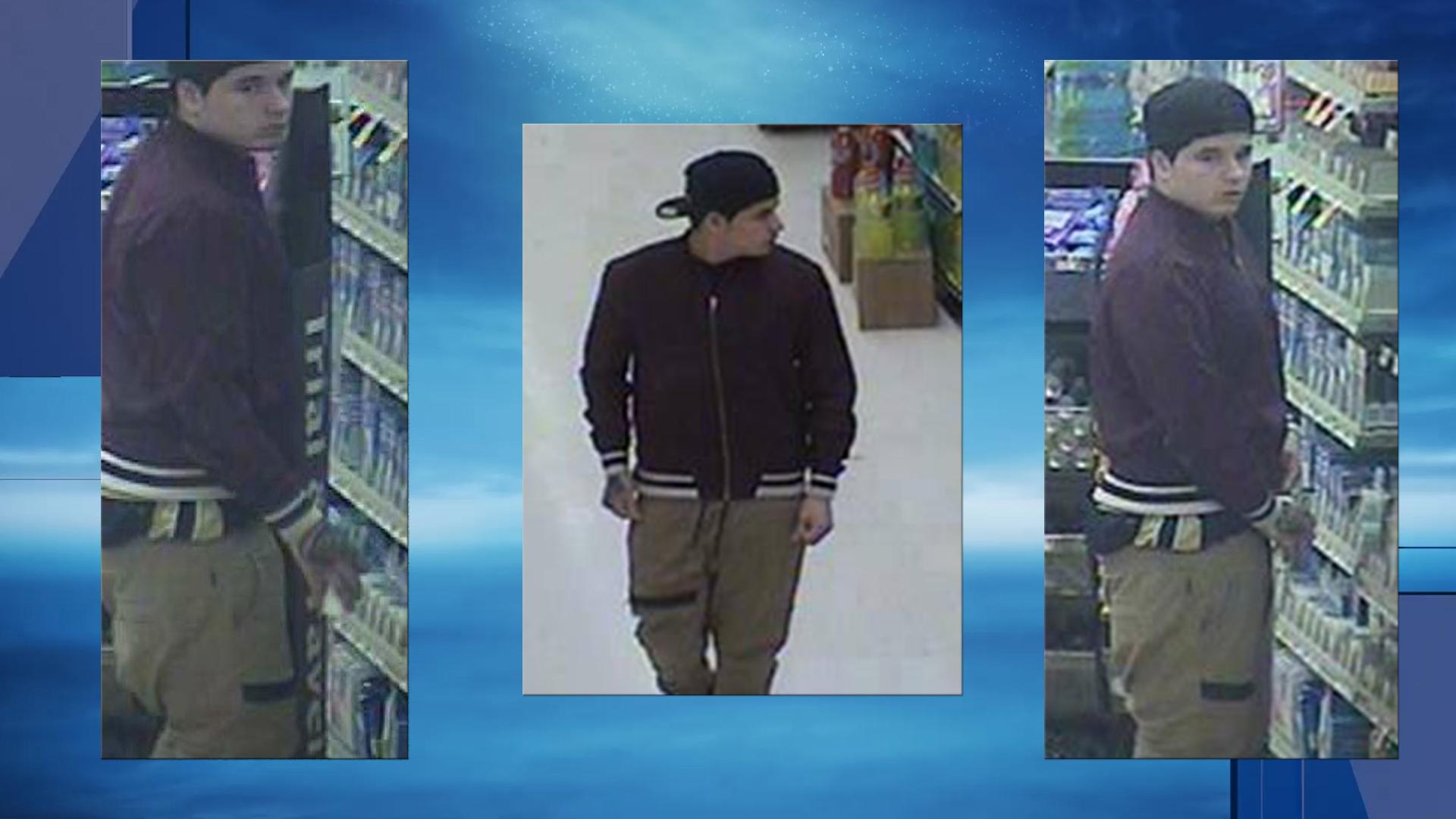 The Cranston Police Department is asking the public to help them identify a man who stole more than $100 of seafood and soda from a supermarket. (Police photos)