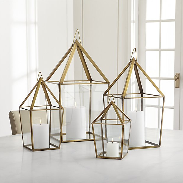 Lillian Brass Metal Lantern from Crate & Barrel ($29.95 - $99.95). Find on crateandbarrel.com. (Image: Crate & Barrel)