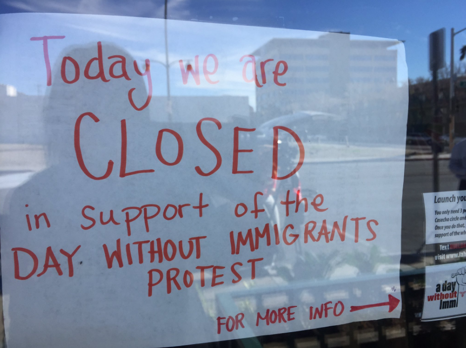 Local businesses stand with A Day Without Immigrants. The campaign is trying to shed light on the power of immigrants in U.S. 2/16/17 (Faith Jessie | KSNV)