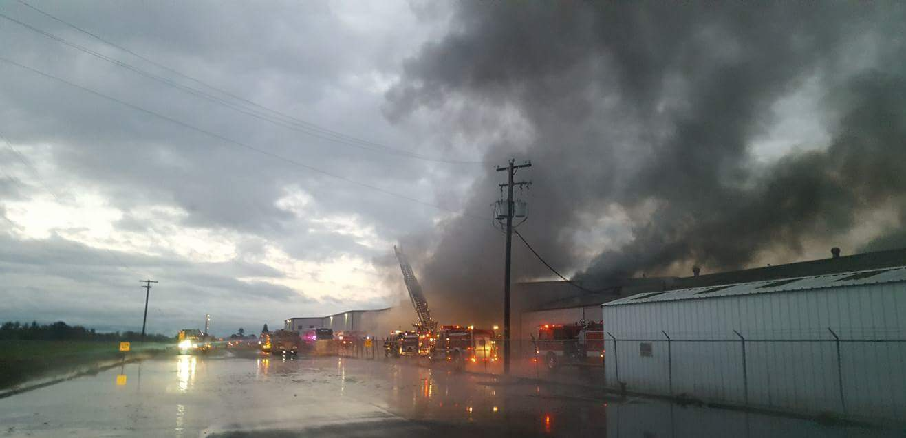 Firefighters responded to an industrial fire on East 1st Avenue on Sunday morning. (JC Fire)