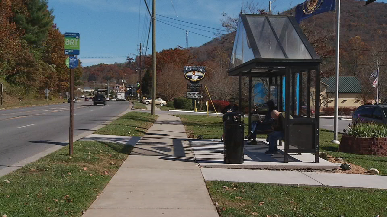 Veterans now have shelter when waiting to catch a bus outside the ABCCM Veterans Restoration Quarters on Tunnel Road. (Photo credit: WLOS staff)