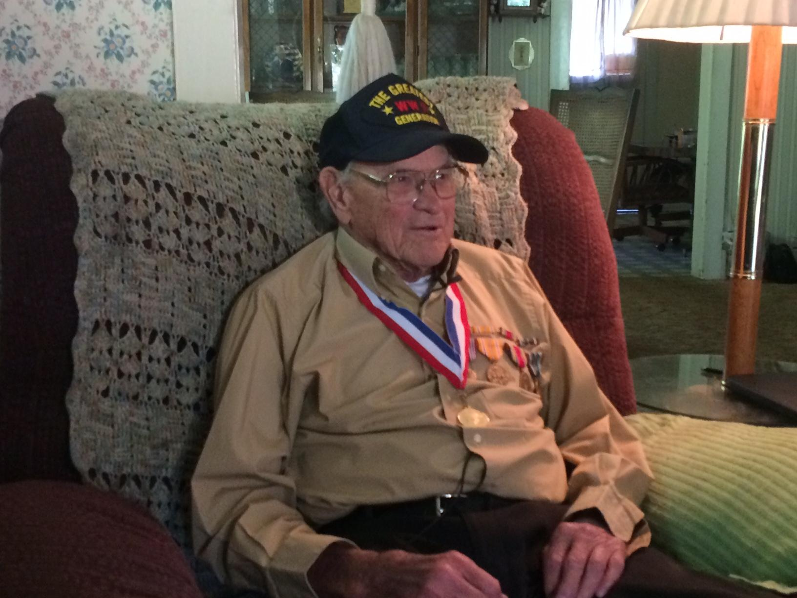 Jim Carroll, 93, of Corvallis is set to fly to France next week to receive the French Legion of Honor medal. Carroll and 8 other U.S. veterans of World War II will visit Paris and Normandy as part of the trip. Carroll was in the US Army Air Force for 2.5 years, primarily as part of a fueling team of -38 and P-51 aircraft. He served in Europe with a brief tour of duty in the Pacific theater in the summer of 1945. The recipient of 4 Bronze Stars, Carroll was in the 485th Service Squadron of the 9th Air Force unit and saw action on Day 6 of the Normandy invasion and at the Battle of the Bulge. (Tom Adams/SBG)