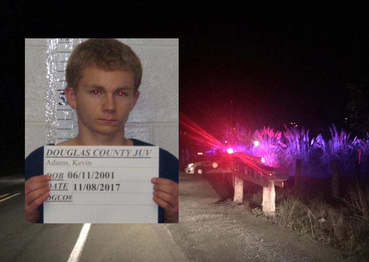 Booking photo of Kevin Adams alongside a photo of the crime scene in Lookingglass. (Douglas County Sheriff's Office photo / SBG crime scene photo)<p></p>