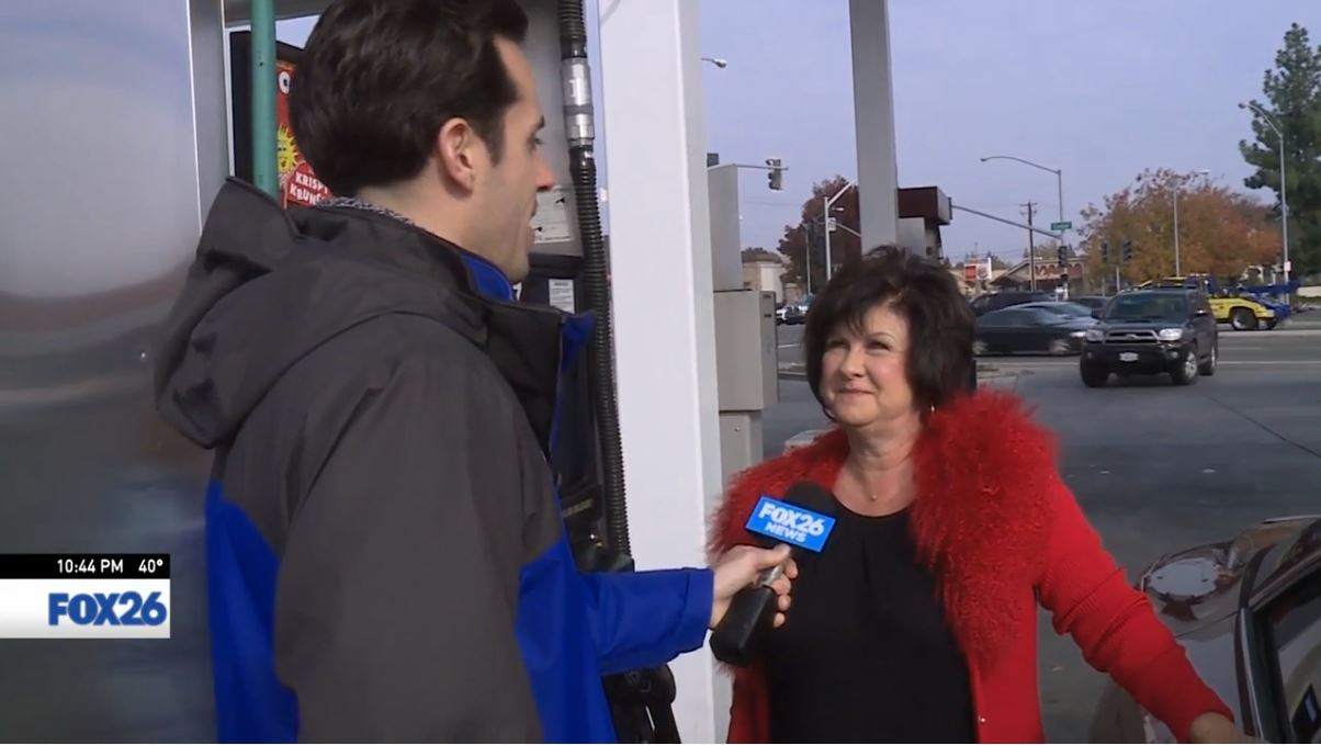 FOX26 Sports Reporter Nick King surprised a woman pumping gas at Herndon and Cedar in Fresno