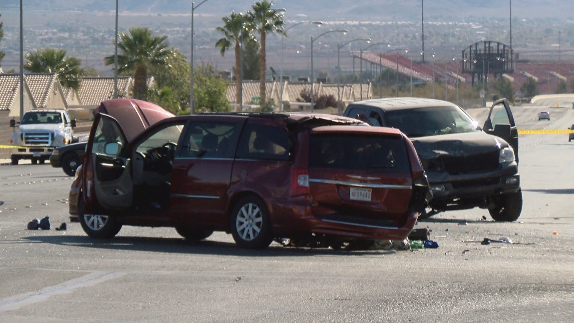 Police investigate a deadly crash Monday, December 4, 2017, at the intersection of Broadbent Boulevard and Cherry Street in Las Vegas. (Norberto Arroyo/KSNV)