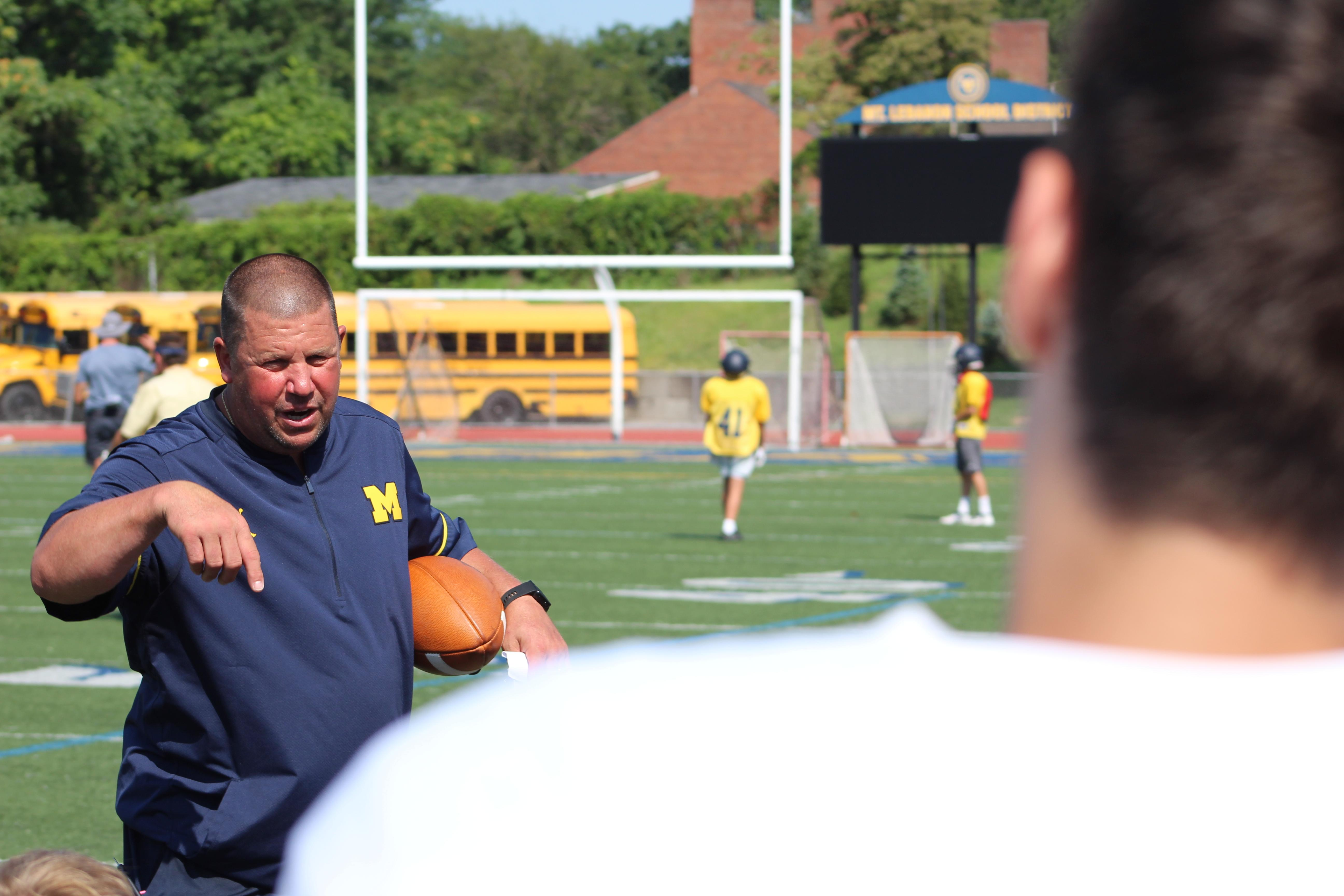 "Mount Lebanon Head Coach Bob Palko - following a legendary career at West Allegheny - instructs his new team during an August practice. Watch the AHN Friday Night Rivals powered by IGS Energy ""Kickoff Special"" Aug. 23 at 7 p.m. on 22 the Point.<p></p>"
