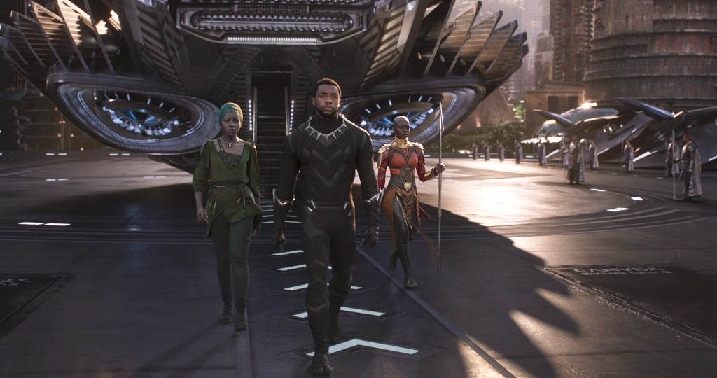 l-r Lupita Nyong'o, Chadwick Boseman and Danai Gurira star in Marvel Studio's BLACK PANTHER (Photo: Walt Disney Pictures)<p></p>