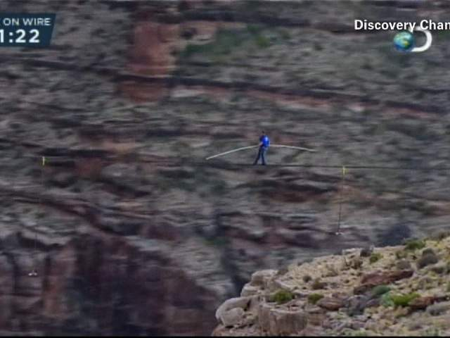 Nik Wallenda isn't even halfway to the other side in this picture from 1,500 feet above the Little Colorado River Gorge near the Grand Canyon.