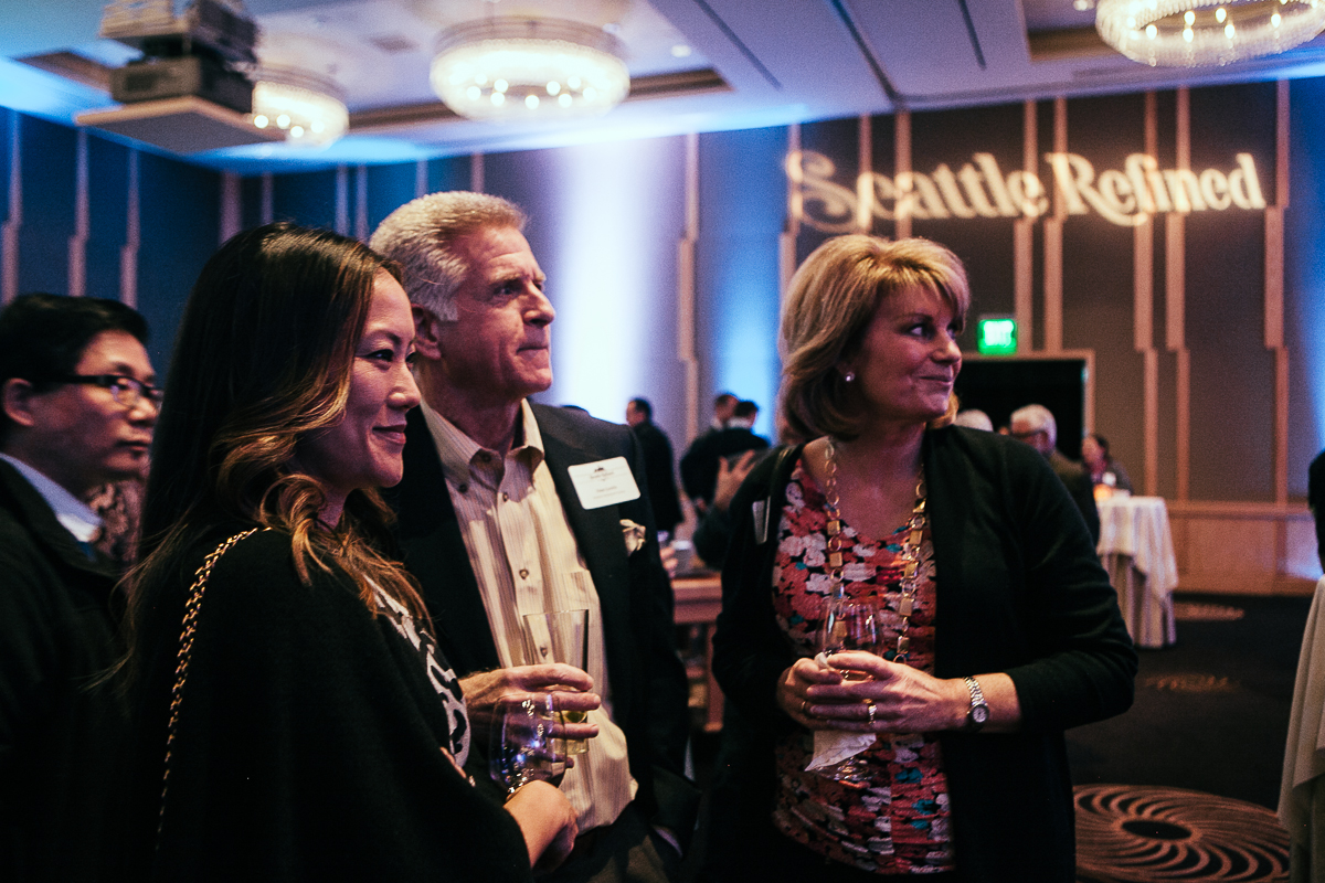 Dan Lewis, Michelle Lee and Margo Myers celebrate the launch of Seattle Refined at the Four Seasons. (Image: Joshua Lewis / Seattle Refined)