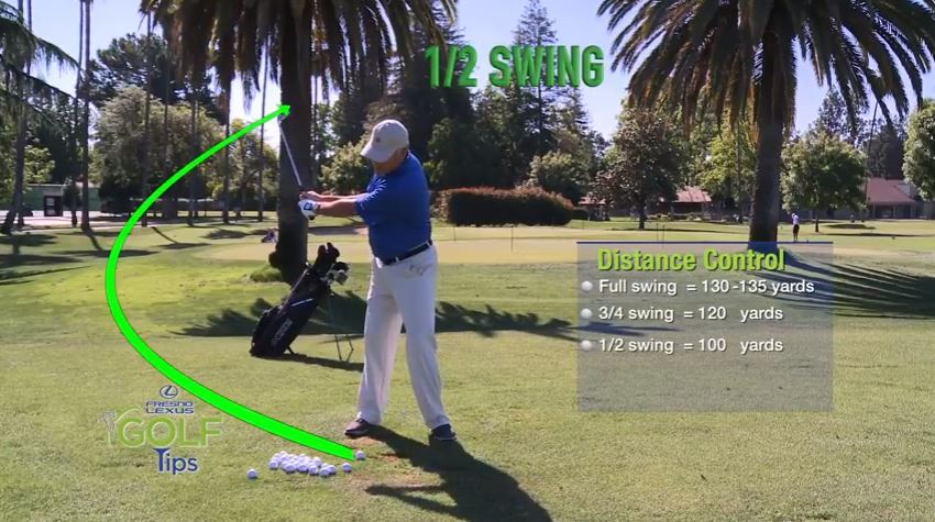 Tammy Masters shows that using a 1/2 swing with a pitching wedge, his ball will go 100 yards