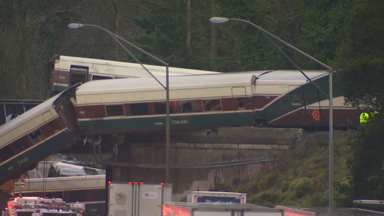 Three people were killed when an Amtrak train derailed near DuPont, Wash. Monday, Dec. 18, 2017. (Photo: KOMO News/Air 4)