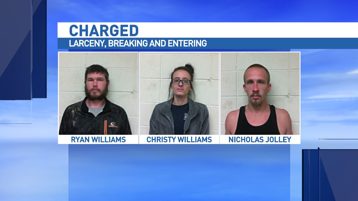 Ryan Williams, Christy Williams and Nicolas W. Jolley have been charged after several storage containers were broken into. (Photo credit: Polk County Sheriff's Office)