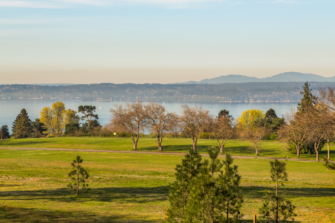 Homes on Officer's Row enjoy sweeping views of Discovery Park, complete with the Puget Sound and a backdrop of the Olympic Mountains.